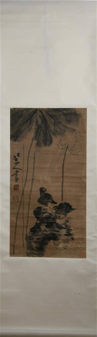 A CHINESE PAINTING OF LOTUS FLOWERS AND BIRD
