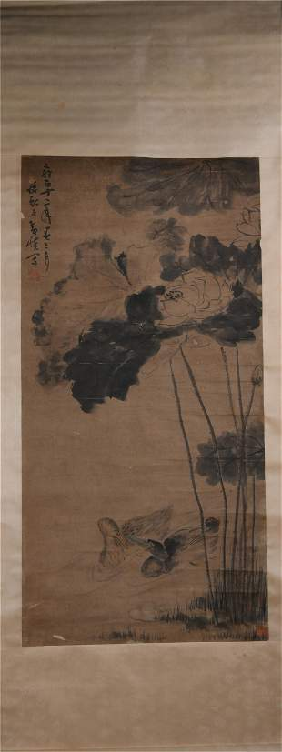 A CHINESE PAINTING OF DUCKS AND LOTUS FLOWERS