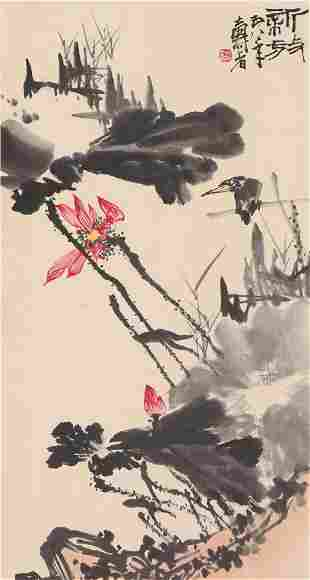A CHINESE INK PAINTING OF BIRD AND LOTUS FLOWERS