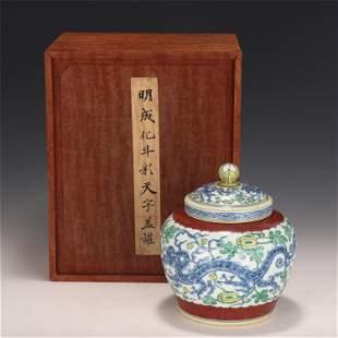 A CHINESE DOUCAI PORCELAIN LIDDED JAR