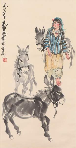 A CHINESE PAINTING OF GIRL AND DONKEYS