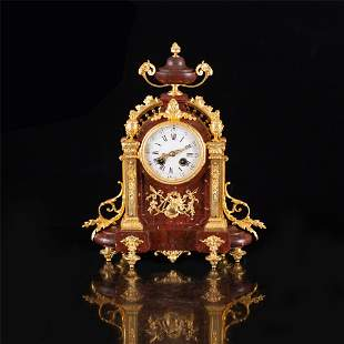 A FRENCH LOUIS XVI STYLE MARBLE MECHANICAL CLOCK