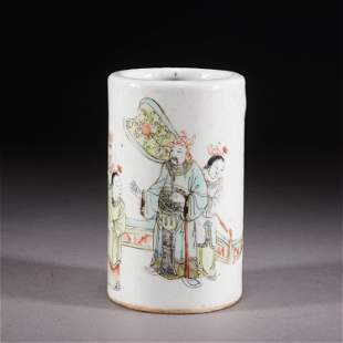 A CHINESE FAMILLE ROSE FIGURE STORY PORCELAIN BRUSH POT