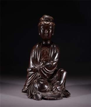 A CHINESE ZITAN FIGURE OF GUANYIN BUDDHA SEATED STATUE