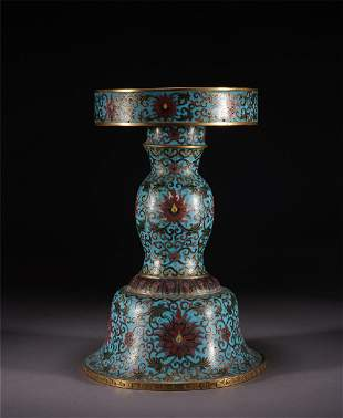 A CHINESE ENAMEL BRONZE CANDLE HOLDER