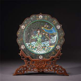 A CHINESE ENAMEL FIGURE STORY SILVER VIEWS PLATE