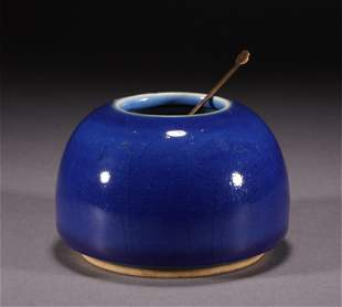 A CHINESE BLUE GLAZED PORCELAIN WATER POT