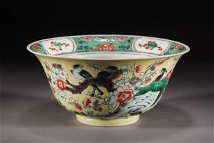A CHINESE FAMILLE ROSE PORCELAIN FLOWERS AND BIRDS BOWL