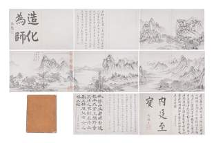 A CHINESE ALBUM OF INK PAINTINGS MOUNTAINS LANDSCAPES