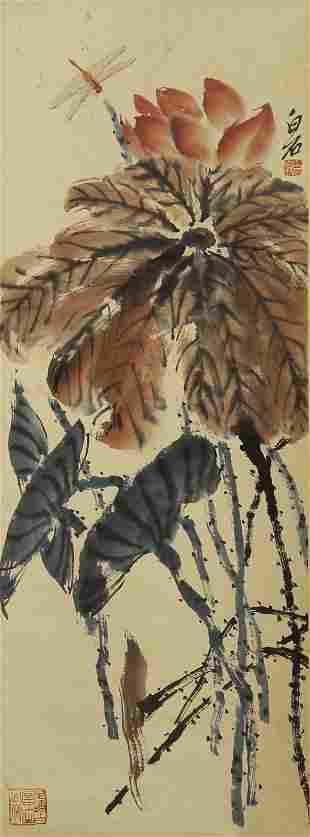 A CHINESE PAINTING OF LOTUS FLOWERS