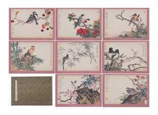 A CHINESE ALBUM OF PAINTINGS COLORFUL FLOWERS AND BIRDS