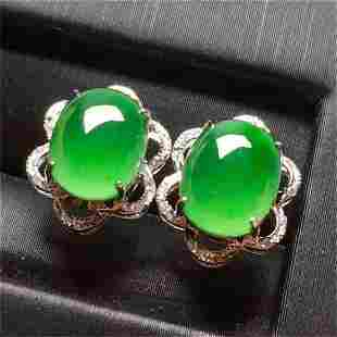 A CHINESE NATURAL JADEITE EARRINGST