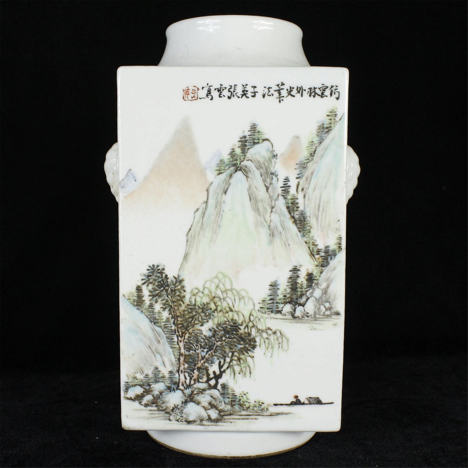 A CHINESE PORCELAIN MOUNTAIN FLOWER AND BIDR CONG VASE