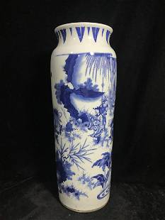 A CHINESE PORCELAIN BLUE AND WHITE FIGURE WITH STORY