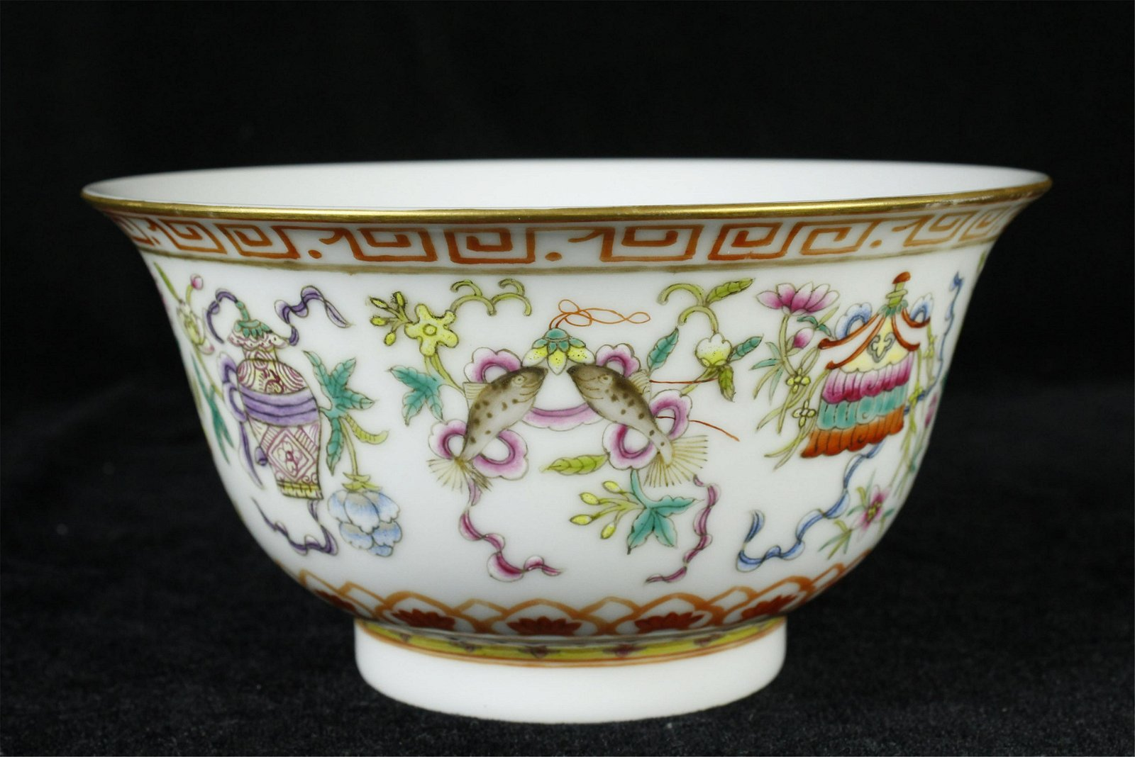 A CHINESE PORCELAIN  FAMILLE ROSE FLOWER AND FISH BOWL