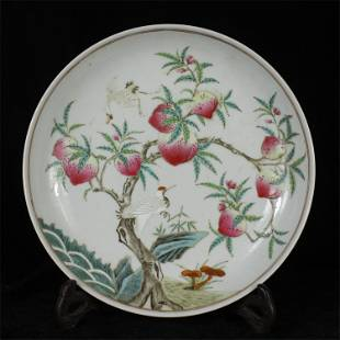 A CHINESE PORCELAIN FAMILLE ROSE PEACH PLATE