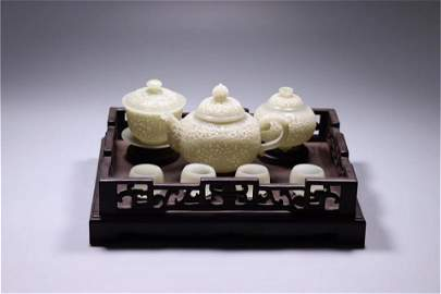 A Set of Chinese Carved Jade Tea Sets