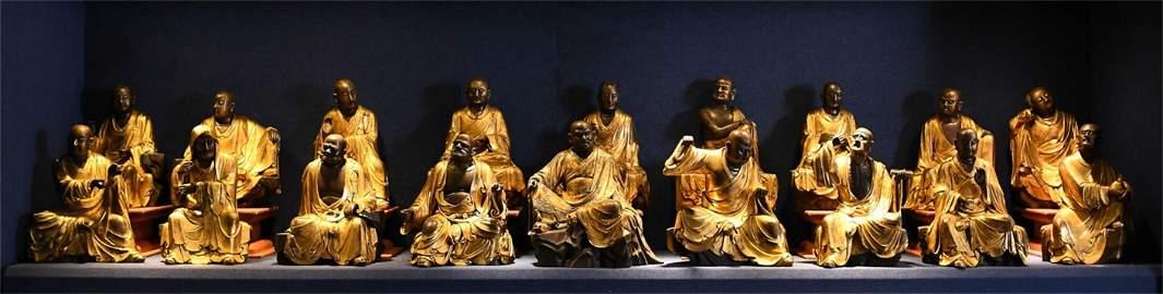 A Set of Eighteen Chinese Gilt Bronze Luohan Statues
