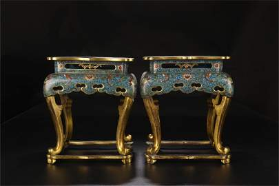 A Pair of Chinese Cloisonne Square Chairs