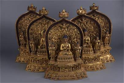 A Set of Five Chinese Gilt Bronze Figure of Buddha