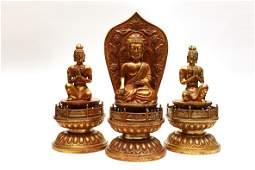 A Set of Three Chinese Gilt Bronze Figure of Buddha