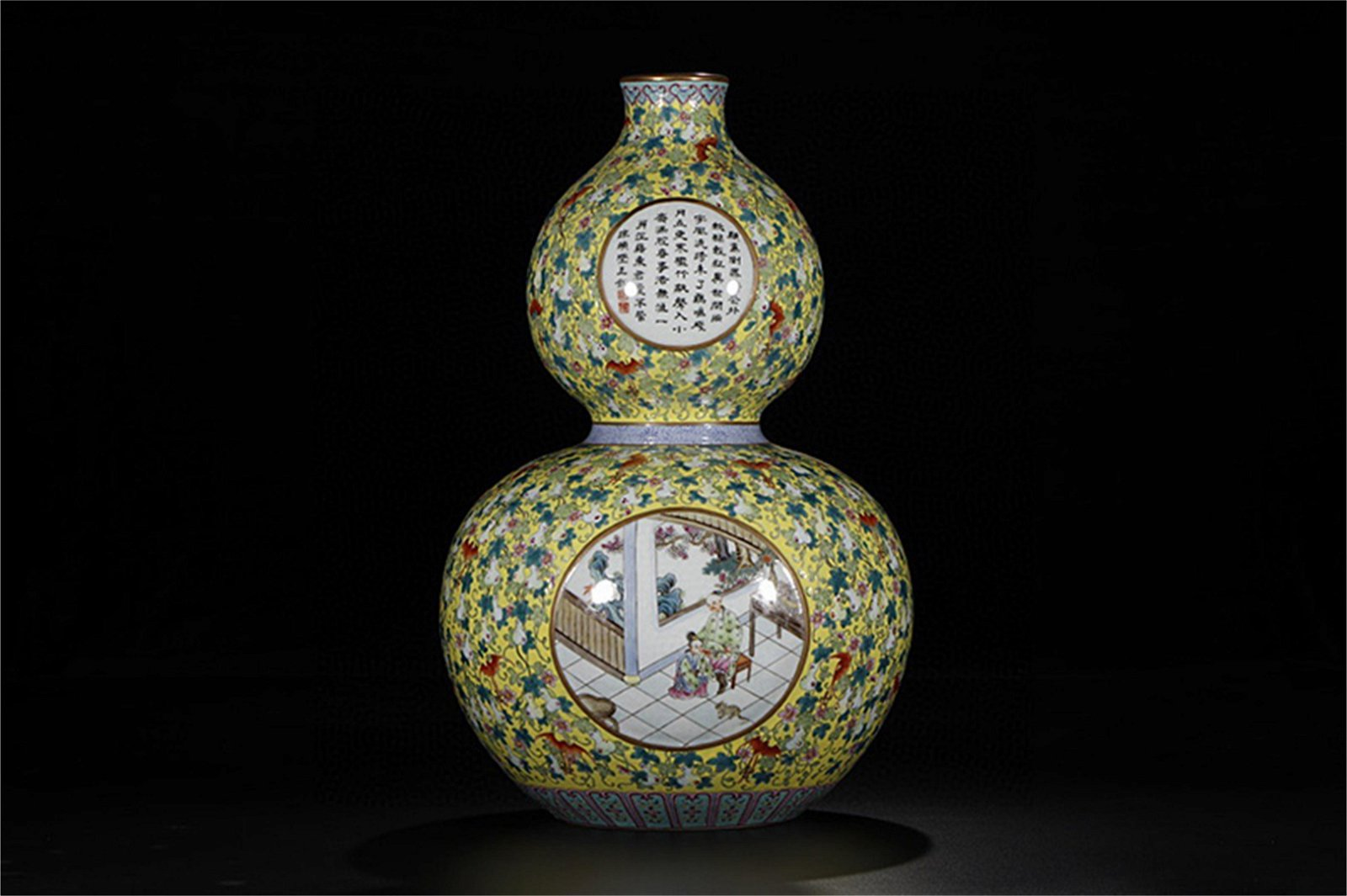 A Chinese Famille-Rose Porcelain Double Gourd Vase