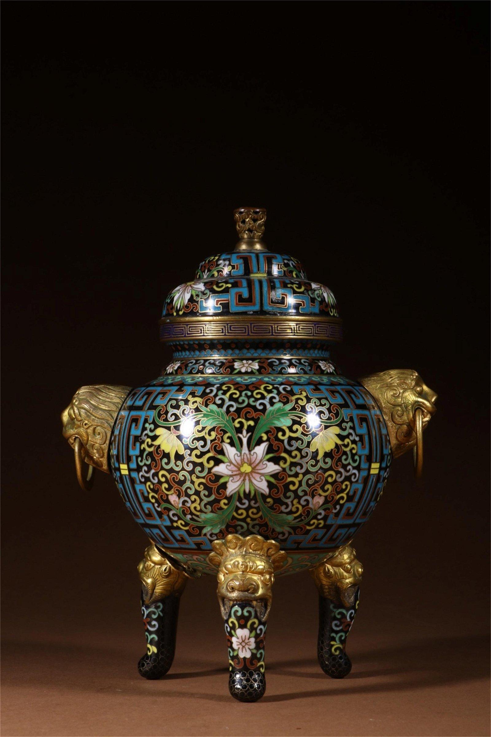 A Chinese Cloisonne Incense Burner