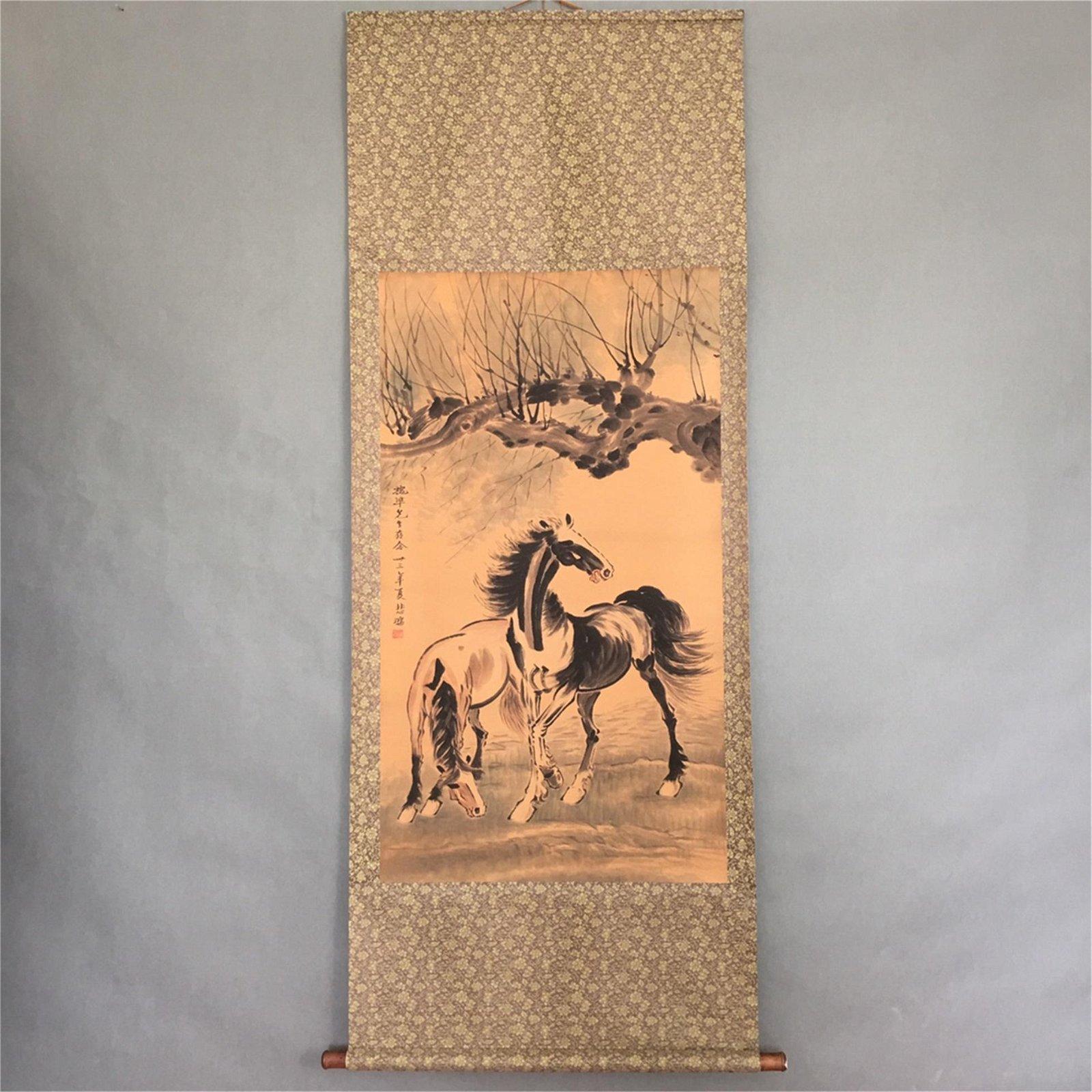 A Chinese Scroll Painting, Xu Beihong Mark