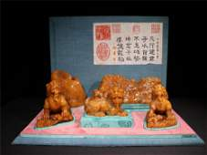 A Set of Chinese Carved Stone Crafts