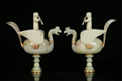 A Pair of Chinese Carved Jade Boxes