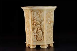 A Chinese Carved Jade Brush Pot