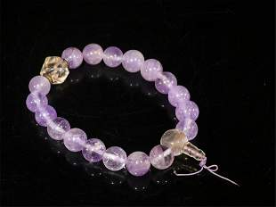 A Chinese Carved Rock Crystal Bracelet