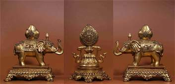 A Set of Three Pieces Chinese Gilt Bronze Instruments