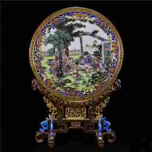 A Chinese Porcelain Table Screen