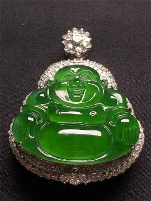 A Chinese Carved Jadeite Pendant (W/O Chain)