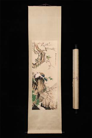 A Chinese Scroll Painting Flowers and Birds