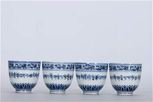 A Set of Chinese Blue and White Porcelain Cups