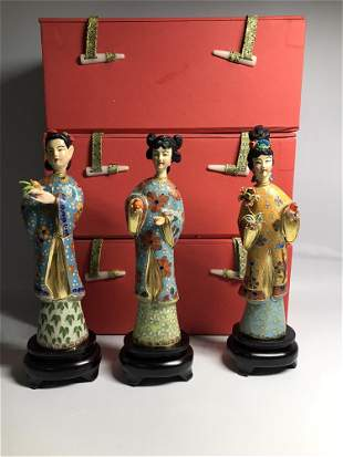A Set of Chinese Cloisonne Decorations