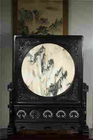A Chinese Carved Hardwood and Stone Table Screen