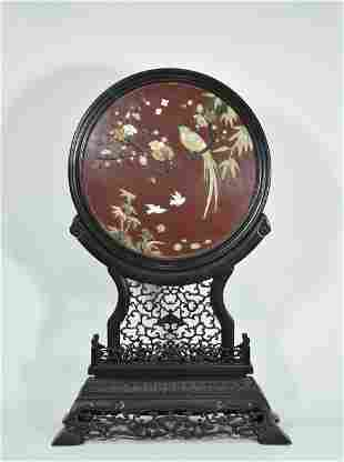 A Chinese Carved Rosewood Table Screen Inlaid