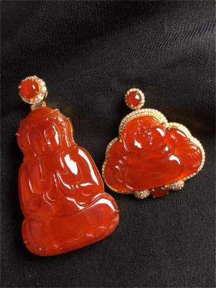 A Pair of Chinese Carved Jadeite Pendants (W/O Chain)