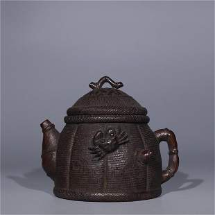 A Chinese Carved Bamboo Teapot