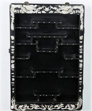 A Chinese Carved Hardwood Hanging Cabinet