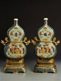 A Pair of Chinese Cloisonne Table Screens with Jade