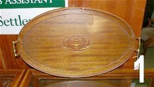 Inlaid oval mahogany veneer brass handled tray, meas