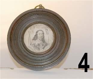 Walnut framed miniature etching of Charles I, measur