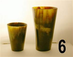 "2 Horn beakers measures 4 3/4"" h. and 3"" h. *noting"