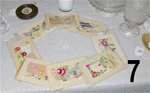 """8 Early hand embroidered postcards titled """"Remember"""""""