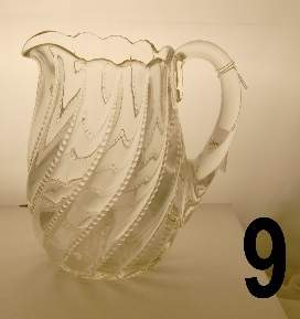 """Early pressed glass pitcher, measures 8"""""""