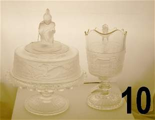 Pressed glass comport with a kneeling Indian on the